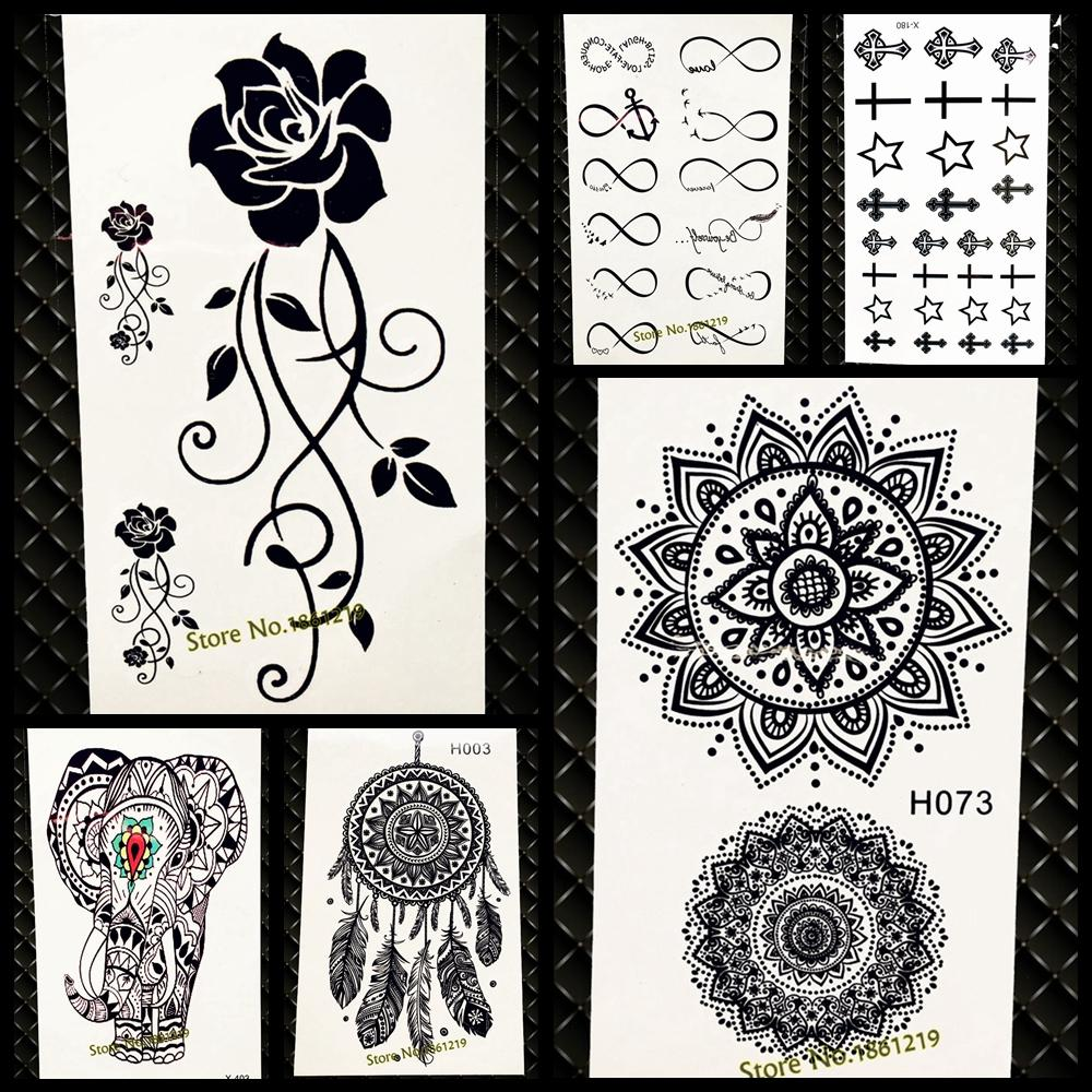 Waterproof Temporary Tattoo Sticker Women Flash Tattoo Mandala Design GH073 Black Henna Body Arm Art Legs Totem