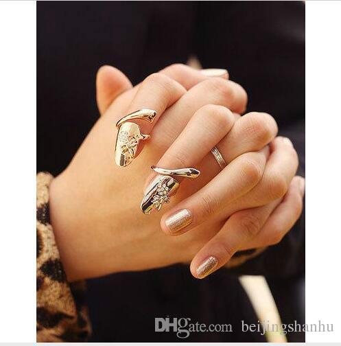 2017 Europa e gli Stati Uniti New Jewelry Dragonfly Flower Flash Drill Anello per nail