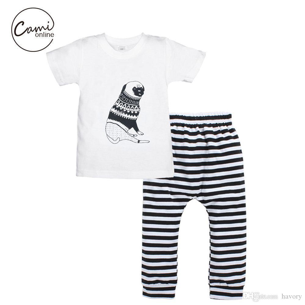 Conjuntos de Roupas de bebê Criança T-shirt de Manga Curta de Algodão Bonito Dos Desenhos Animados Cão Conjunto de Roupas de Impressão Stripe Calças Infantis Casuais Ternos