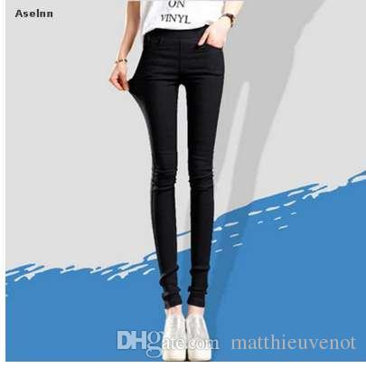 Aselnn Printemps Nouveau Mode Femmes Crayon Pantalon Casual Taille Élastique Skinny Pantalon Plus La Taille Noir Blanc Stretch Pants