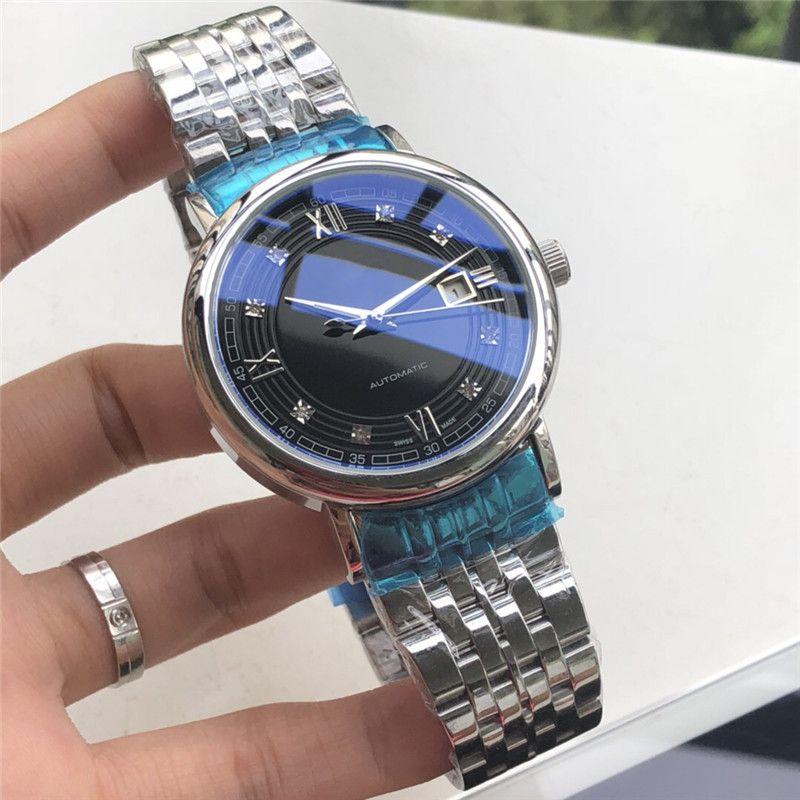 Relojes de los hombres Dial Negro de Acero Inoxidable 42mm Caja de Plata Bisel Pulsera Movimiento Automático Moda de Lujo Relojes de Pulsera L26