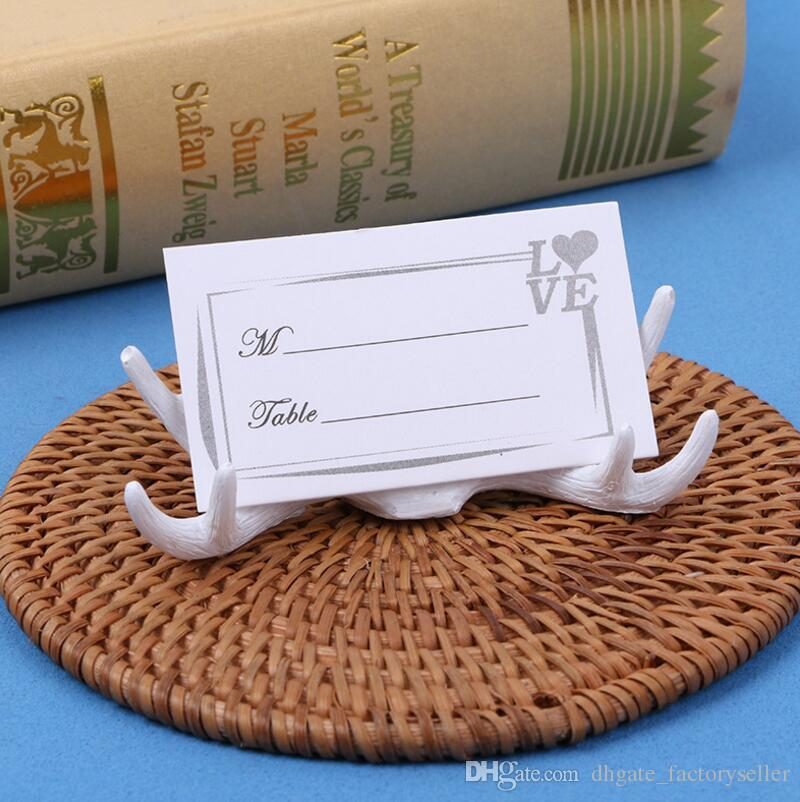 Creative elegant wedding table decoration white resin antler place card holder LX3726