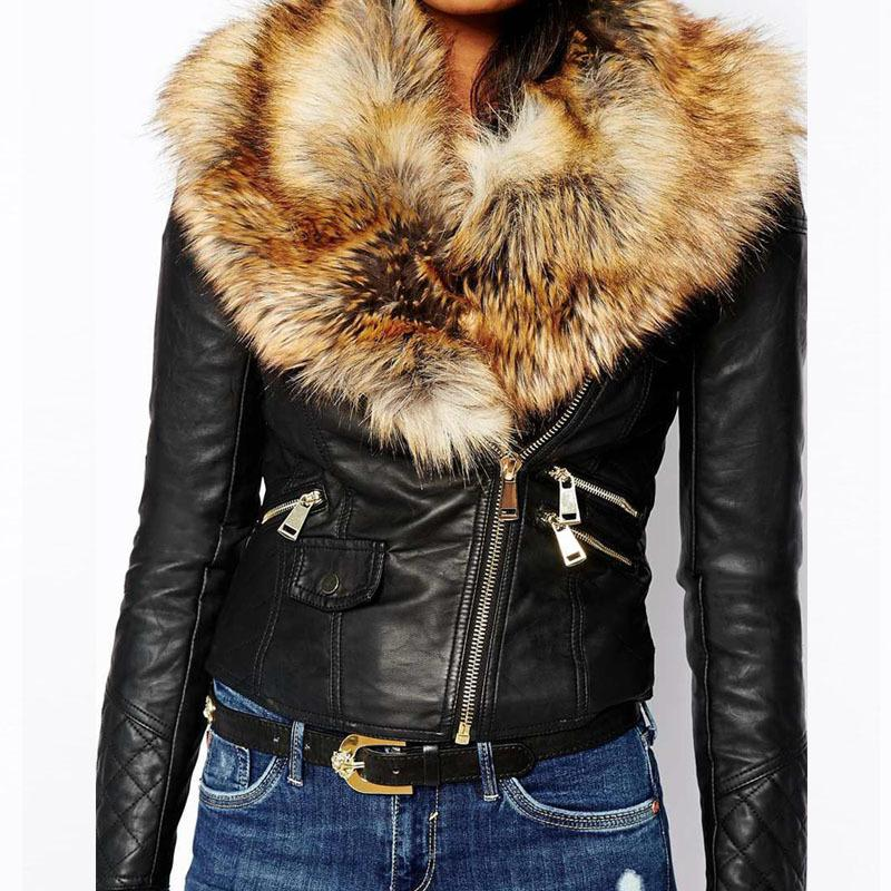 Hot PU Leather Jacket Coat with Faux Fox Fur Collar Women Autumn Coat Female Slim Short Outerwear Overcoat Plus Size 3XL Q1660 Y18110501