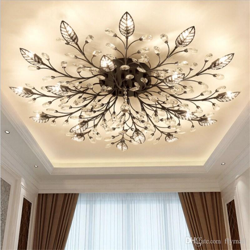 2019 Modern K9 Crystal Led Flush Mount Ceiling Chandelier Lights Fixture Gold Black Home Lamps For Living Room Bedroom Kitchen From Flymall 131 66