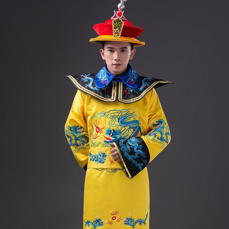 Chinese Ancient Men Clothes Qing Dynasty Emperor Dragon Robe Gown Embroidery Male Cosplay Clothing Vintage Performance Costume