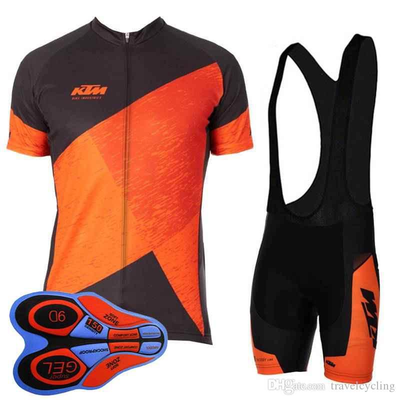 2019 KTM Ropa de Ciclismo Transpirable Racing Wear Wear Hombres Ciclismo Jersey Traje de Verano de Manga Corta ropa de bicicleta de carretera Y052703