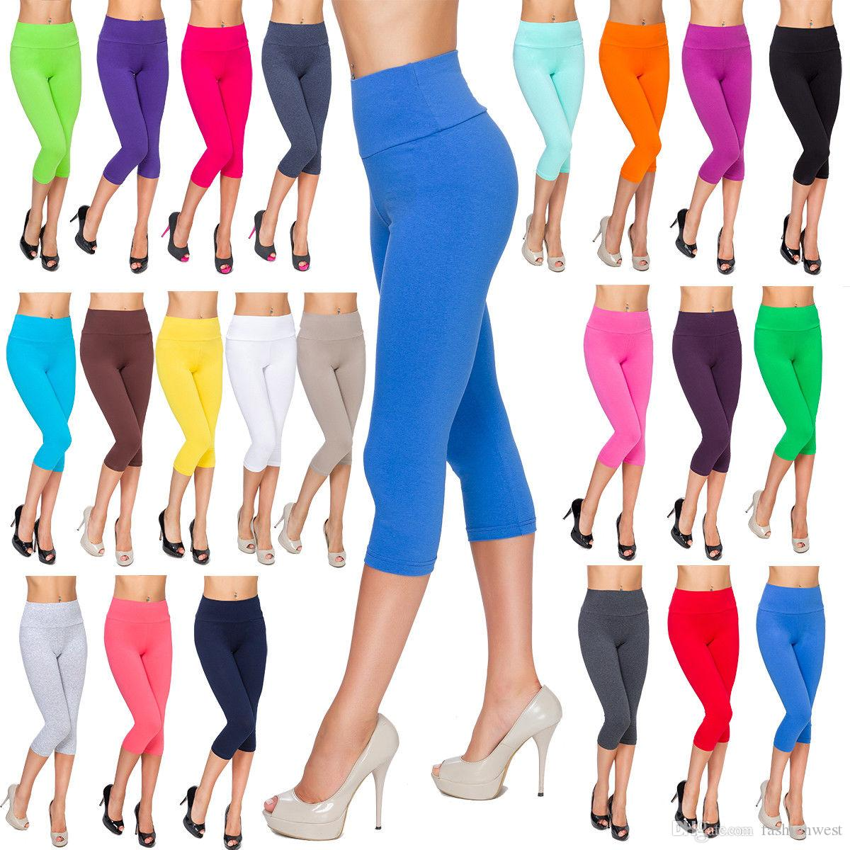 36eadd9dd25c1a Ladies Casual Cropped Leggings Comfy High Waist Cotton Size 8-22 3/4 Pants  LWP34