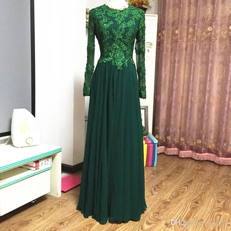 Actual Photo Green Lace Mother of the Bride Dresses Long Sleeve Beads Appliques Chiffon Formal Evening Party Dresses Wedding Guest Gowns
