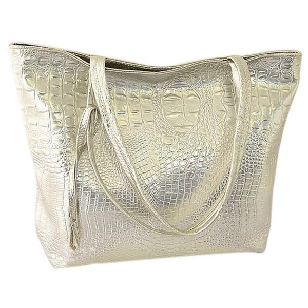 Großhandel Tftp Kunstleder Schwarz Mode Handtasche Solide Frauen Sunmart714 Auf Gloden Bag Von 15 Tote Kapazität Krokodil Silber Große kX0nwP8O