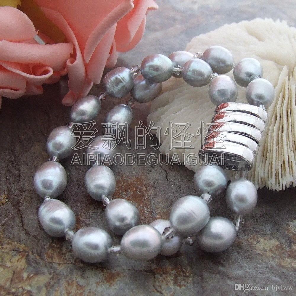 B033113 2Strands 12mm graues Perlenkristallarmband