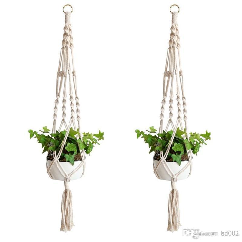 Plante Cintre Crochet Fleur Pot À La Main À Tricoter Naturel Fine Cordage Planteur Holder Panier Maison Jardin Balcon Décor 9zd ff
