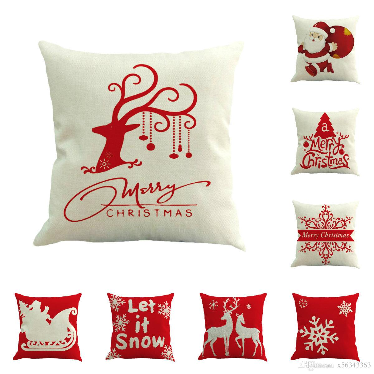 Christmas Pillows.Merry Christmas Pillows Case Flax Pillow Cover Reindeer Elk Throw Cushion Cover Tree Sofa Cushion Covers Santa Claus Christmas Decorations Christmas