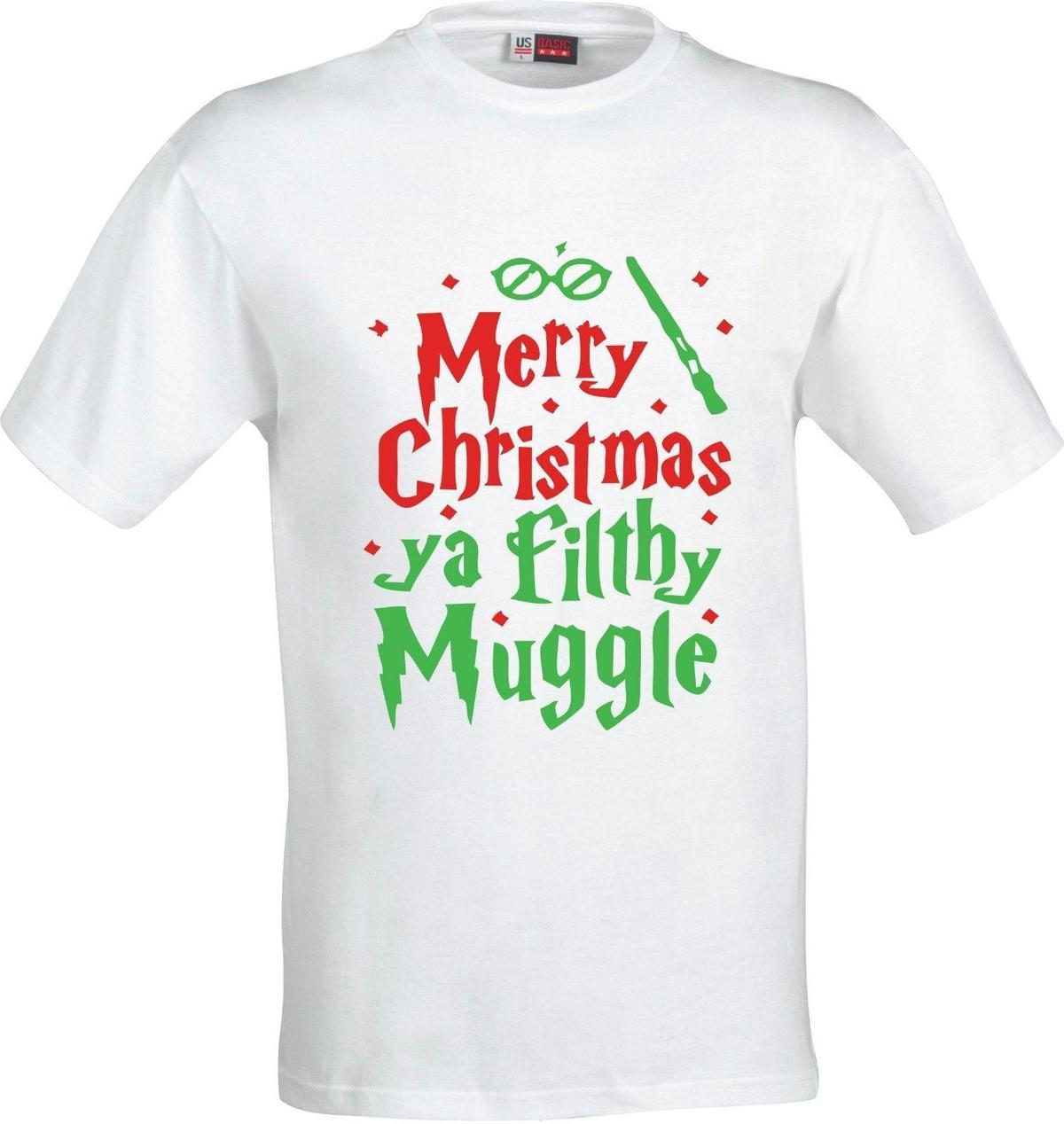 Harry Potter Christmas Shirt.Merry Christmas You Filthy Muggle Harry Potter Full Color Sublimation T Shirt Tee Shirt Deals Online Shopping Tee Shirts From Yubin8 14 66