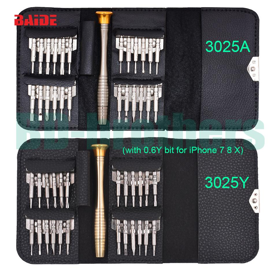 New With 0.6Y All in One Torx Bit Set Hot Sale 25 in 1 Wallet Screwdriver Set for iPhone 7 Hand Tools 20Sets/lot