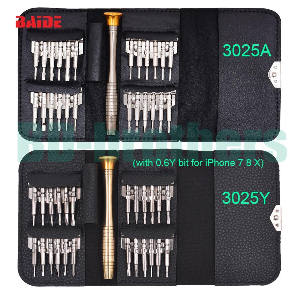 New Com 0.6Y All in One Bit Torx Set Hot Sale 25 em 1 chave de fenda Set Carteira de Ferramentas iPhone 7 mão 20sets / lot
