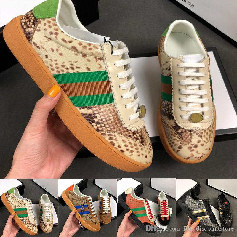 (С коробкой) новый роскошный мужчина женщины дизайнер обуви щегольской Dan Повседневная обувь высокое качество натуральная кожа красный зеленый полосой кроссовки размер 35--45