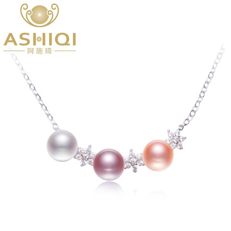 ASHIQI Real Natural freshwater pearl necklace women 925 sterling silver stars pendant necklace jewelry Y1892806