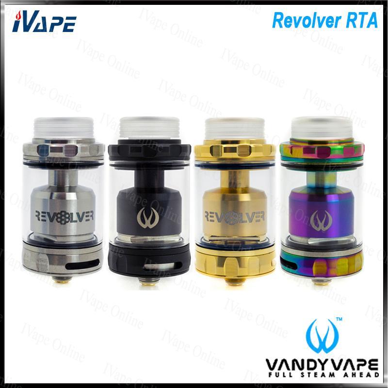 VANDY VAPE Revolver RTA zbiornik Unikalny 120 ° Revolving Airflow Design 3ML zbiornik w / 5ml Wymiana bąbelkowa rura szklana górna napełnianie 100 Ogginal