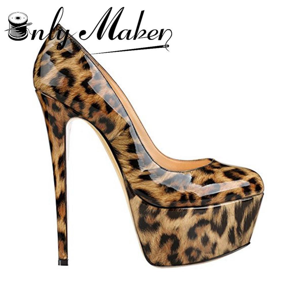 9a6223a65 Compre Onlymaker 16 Cm Sapatos De Salto Alto Sapatos De Moda Das Mulheres  Sapatos De Leopardo 5 Cm Plataforma À Prova D 'Água Sexy Pico Plus Size 15  De ...