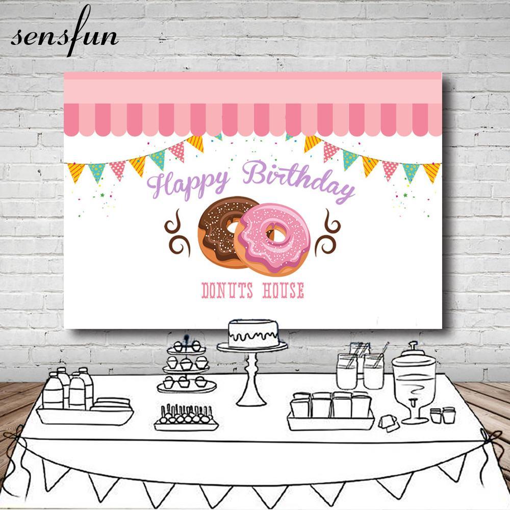 Toptan Lezzetli Donut Zemin Fotoğraf Stüdyosu Için Pembe Beyaz Renkli Bunting Kızlar Doğum Günü Partisi Arka Fotoğraf Stüdyosu Için