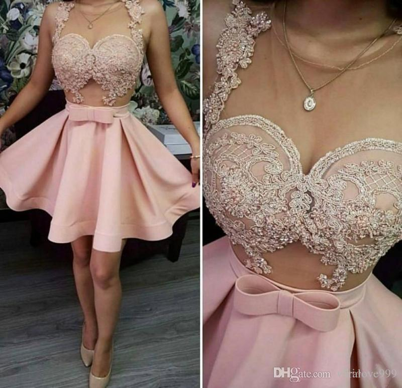 Pink Homecoming Dresses Sheer Neck Lace Appliques Short Prom Dress Sheer Neck See Through Cocktail Party Dress Cheap Gowns