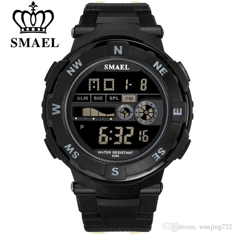 SMAEL Марка светодиодные водонепроницаемые цифровые мужские часы военная электроника наручные часы цифровые часы мода повседневная Мужские спортивные часы
