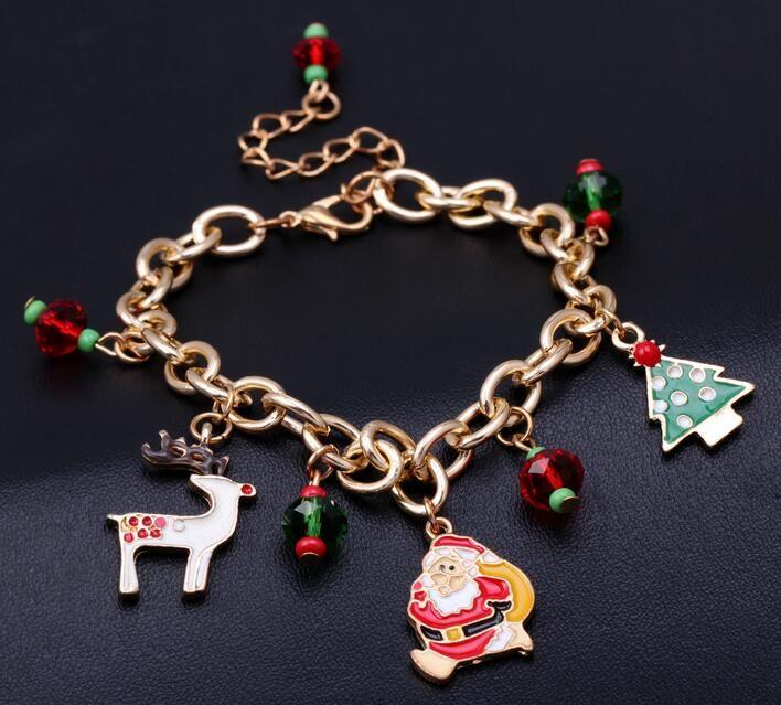 2018 Nueva Llegada de Navidad Pulsera Abalorios Charm Bracelet Bangle Santa Claus Milu ciervos Moda Pulsera Joyería envío gratis