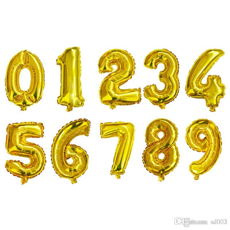 Aluminum Foil Balloon 16inch Number Design For Wedding Christmas Birthday Party Decorations Trend Inflatable Balloons For Gifts 0 42zz ZZ