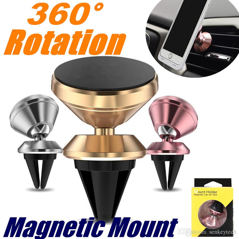 Air Vent Magnetic Holder Car Mount 360° Rotation Aluminum Alloy Magnet Mount Stand Phone Holder for iPhone X 8 7Samsung galaxy S9 Plus