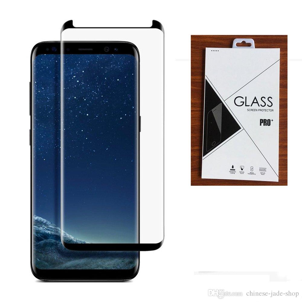 Caso Amigável Vidro Temperado 3D curvado para Samsung Galaxy Nota 8 Nota 9 S9 mais S8 mais S7 Borda 100 pcs / lote no pacote de varejo