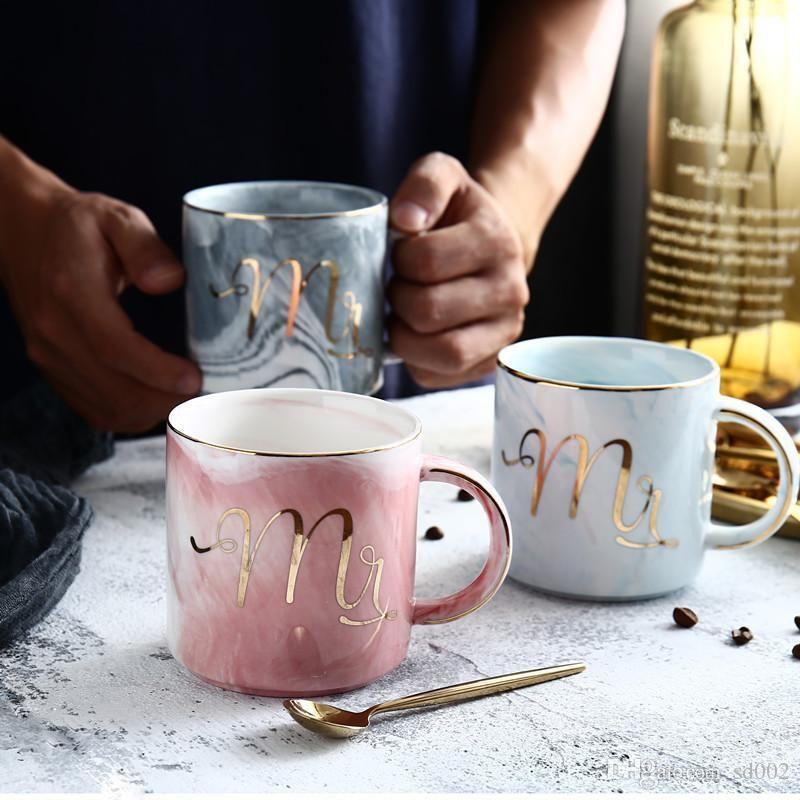400ml Mr Mrs. Coffee Mugs 마시는 차를위한 크리 에이 티브 컵 Couple Lover 발렌타인 데이 선물 13을위한 세라믹 밀크 텀블러 23se ZZ