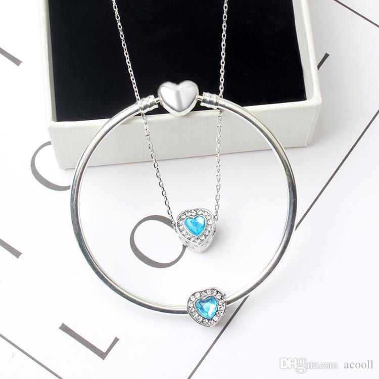 Fashion 10 colors single Heart-shaped crystal bracelet / necklace set suitable for Pandora style European charm beads DIY bracelet jewelry