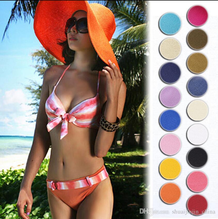 Sun Straw Beach Hat Cap Women's Large Floppy Folding Wide Brim Cap Beach Panama Hats 17 colors EEA70