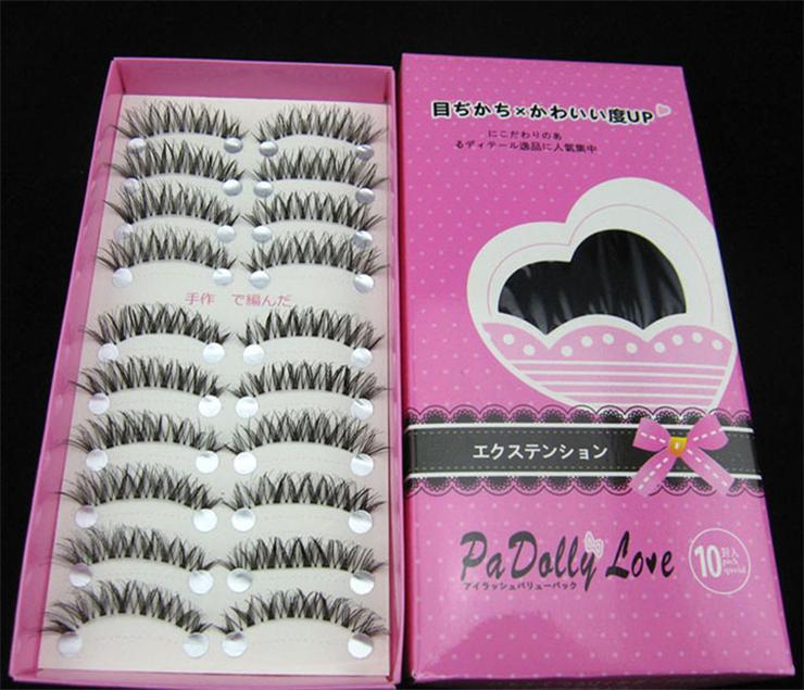 Top False Eyelashes Cross Sections 10 Pairs Natural Long Fasle Eyelashes Curving Lengthening Sexy Eyemakeup 3D Free Shipping