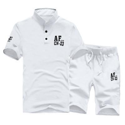 T-shirt a maniche corte in cotone New Summer + Pantaloni corti Abiti da uomo Set Costumi da uomo Abiti casual Bianco Grigio M ~ 3XL