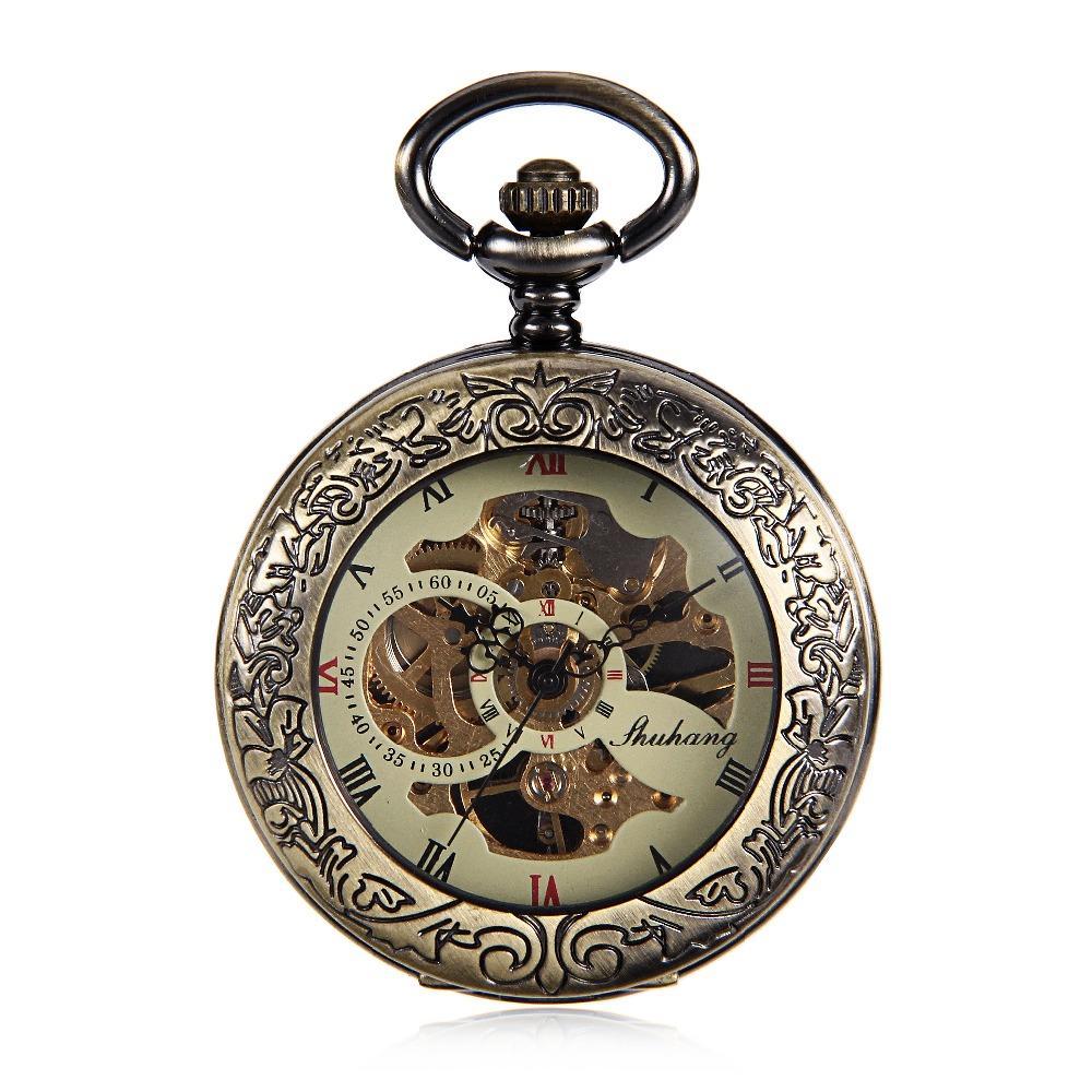 Antique Bronze Tone Horloge Transparent Voir Bien Cas Steampunk Squelette Mécanique Montre De Poche Pour Les Hommes cadeaux reloj de bolsillo