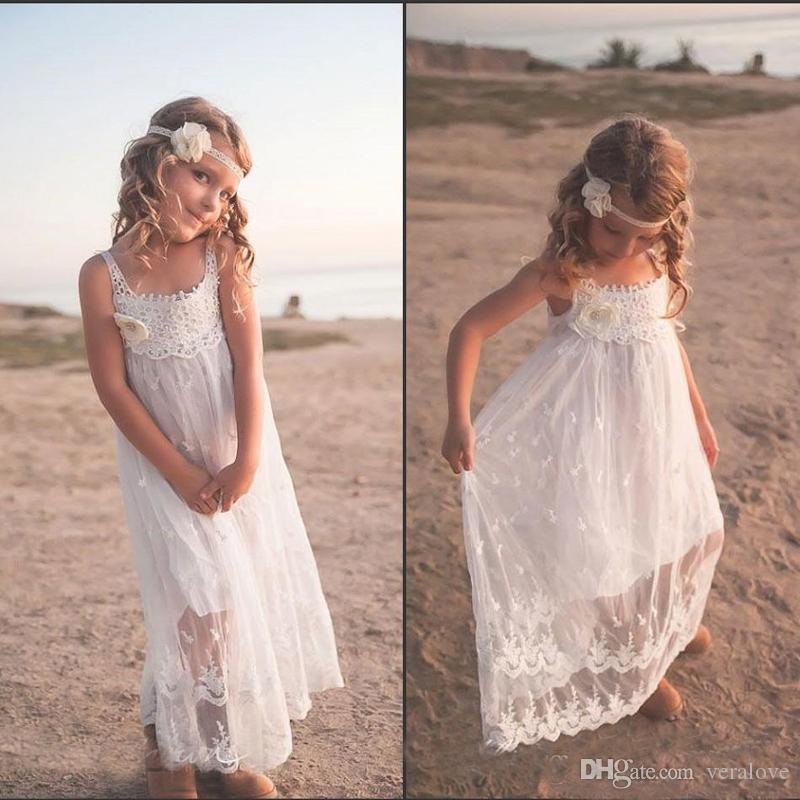 Cute Cheap Beach Flower Girl Dresses Lace Spaghetti Cute Backless Hand Made Flower Holy Communion Dress Wedding Guest Party Dresses