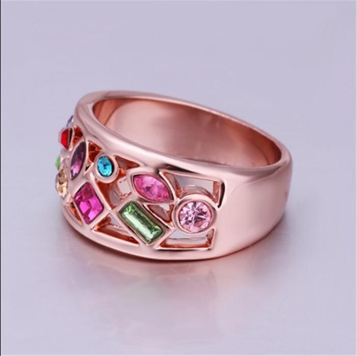 Moda de lujo joyas de baile 18K chapado en oro austriaco anillo de cristal SWA Elements