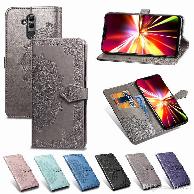 Revestido Mandala Wallet Flip PU de cuero Caser para Huawei P8 Lite 2017 P10 P20 Pro Mate 10 20 Honor 6X 6A 6C 9 Y3 Y5 Y6 Prime 2018 Nova 3i