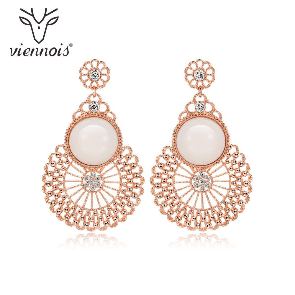 Viennois resina exquisita cuelga los pendientes para las mujeres color oro rosa estilo barroco pendientes de gota joyería femenina