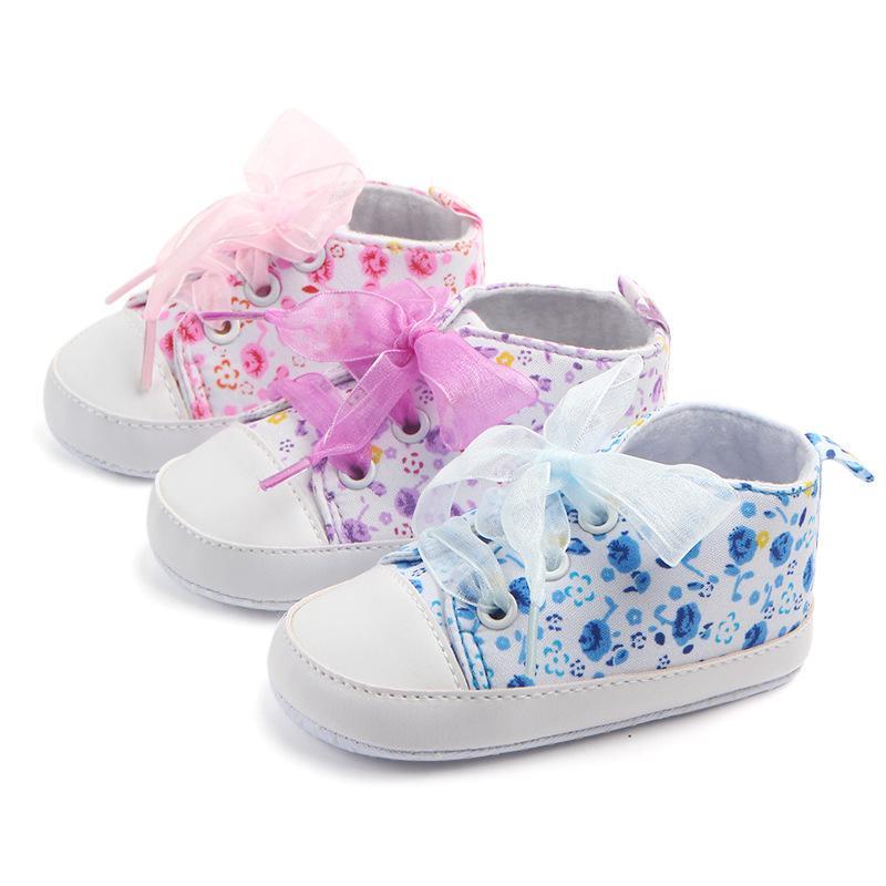 Babyschuh-Mädchen-Baumwollblumen Riband Infant weiche Sohle Anti-Rutsch-Prinzessin Baby erste Wanderer-Kleinkind-Schuhe 0-18M