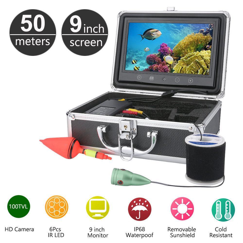 50M Underwater Fishing Camera 9 Inch CD Monitor 1000TVL CMOS Waterproof Fishing Finder Video IR Camera