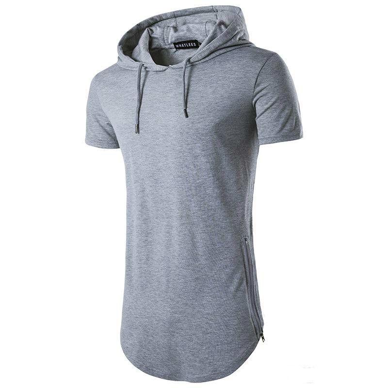 2018 Tops Tees Venta caliente con capucha cremallera larga camiseta de los hombres del verano Camisetas para hombres de manga corta camiseta Moda cuello redondo de los hombres camiseta ocasional