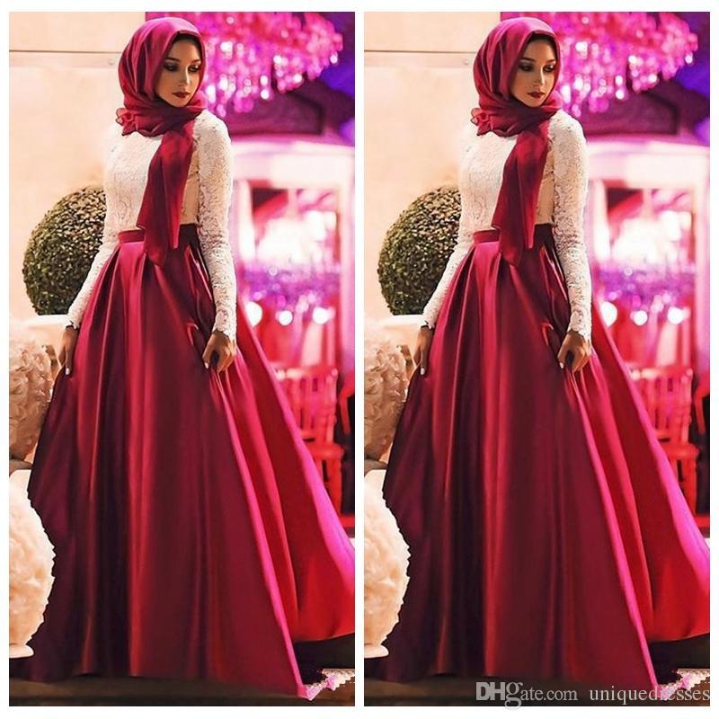 Großhandel Grace Muslim Spitze Abendkleider Tragen 2018 Mode Lange ...