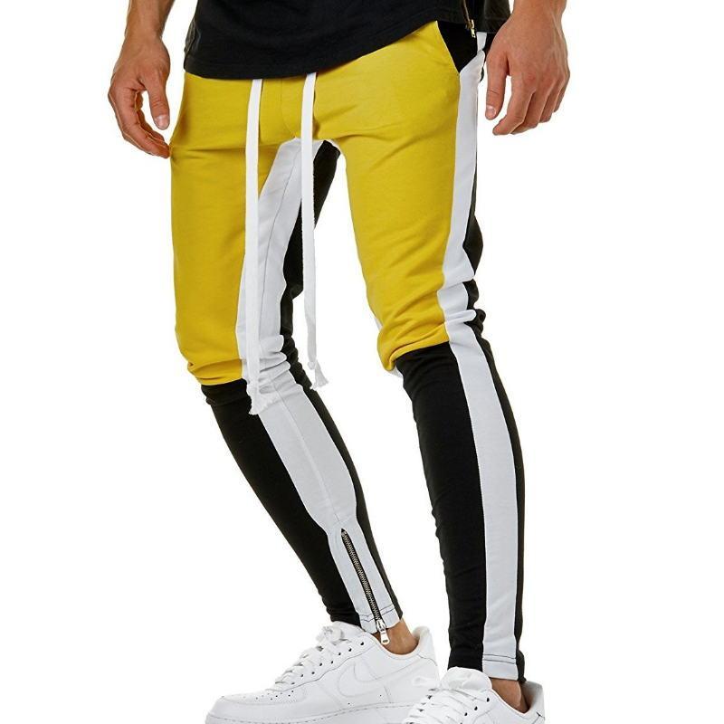 4 Colors Zipped Ankle Track Pants Waist Banding Panelled Side Stripe Zip Pockets Color Contrast Retro Trousers Joggers Pants