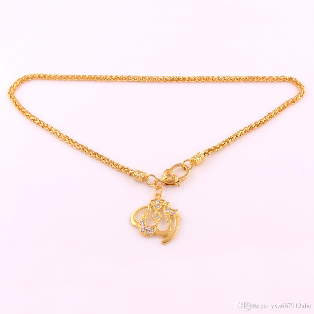 Pendent di fascino di preghiera di urdu di colore dell'oro di buona qualità con il cristallo libero di modo dei monili della collana della catena a maglia del grano religioso di modo