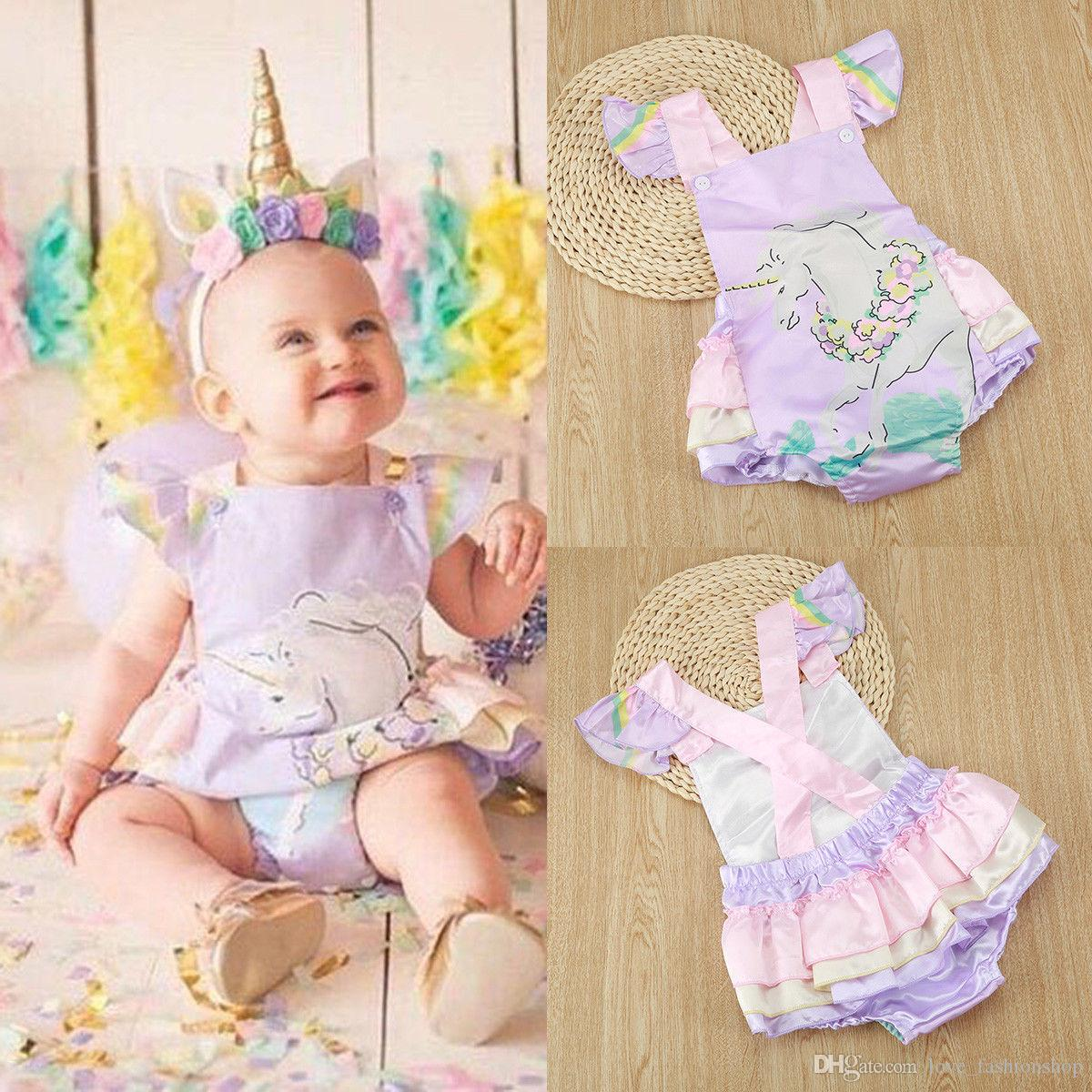2 Colors Ins Baby Girls unicorn Backless Cake Skirt Rompers Kids Infant Newborn Cartoon Printed Fly Sleeve Jumpsuits Onesies Clothing