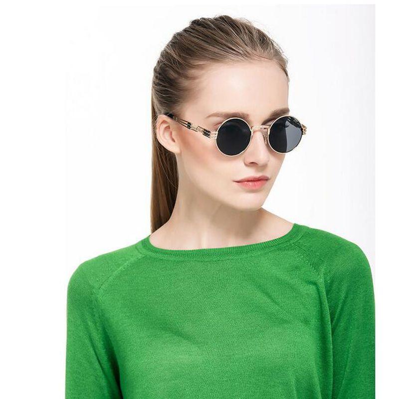 2018 Luxury Metal Sunglasses Men Round Sunglass Steampunk Coating Glasses Vintage Retro Outdoor Sunglasses 10Pcs/Lot