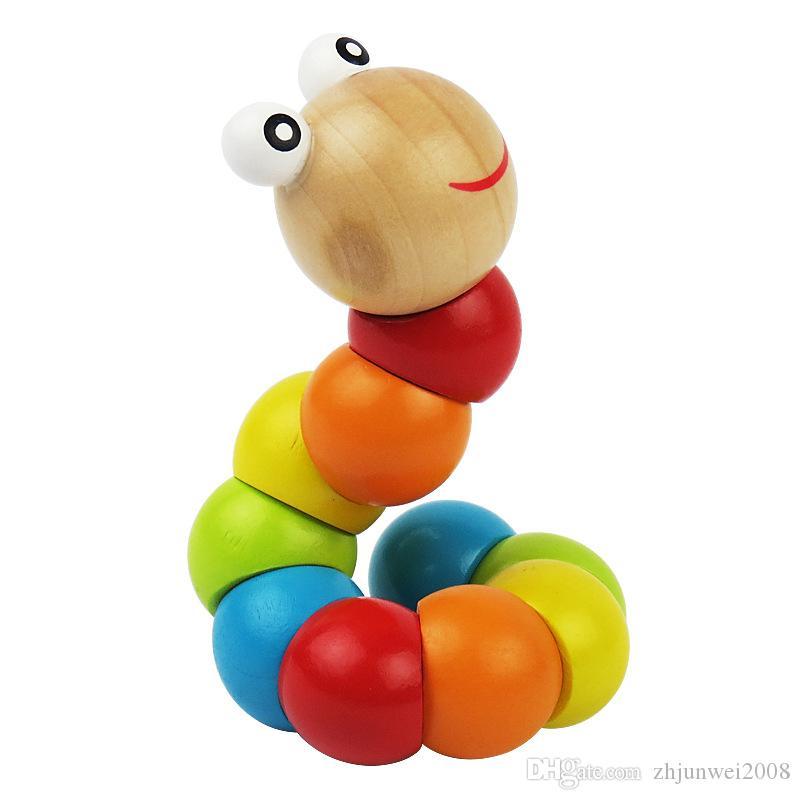 Wurm Kinder Twist Caterpillar Holz Pädagogisches Entwicklung spielzeug Geschenk