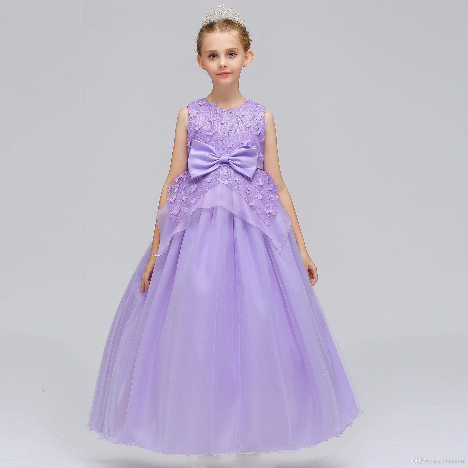 2019 Arabo Blush Pink Flower Girls Abiti Per Matrimoni Maniche Lunghe In Pizzo Appliques Ball Gown Compleanno Ragazza Comunione Abito Da Spettacolo